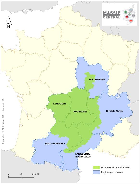 Carte présentant le périmètre du Massif Central