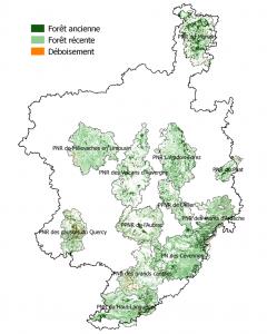 Carte des forêts présumées anciennes sur les parcs du Massif central (IPAMAC)